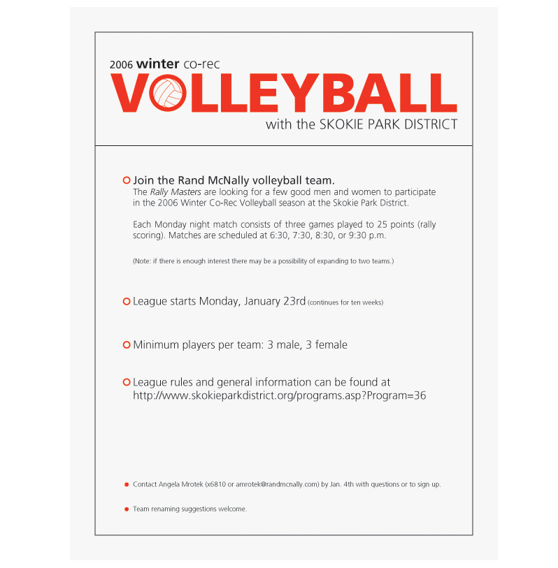 volleyball sign up sheet